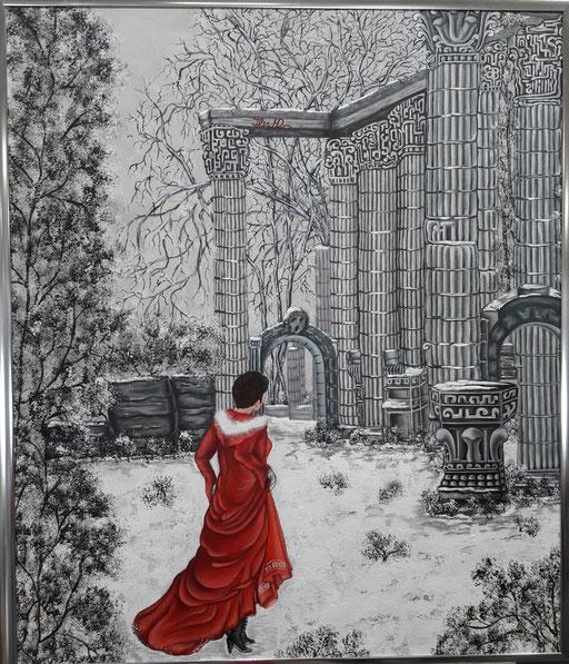 Verloren im Labyrinth, keiner weiß welche Wege und Türen die Richtigen sind; 60x 70cm; Acryl auf Leinwand
