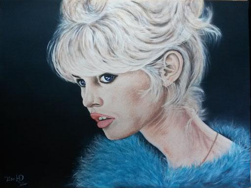 BB - Brigitte Bardot; 42x 56cm; Polychromos und Acryl auf Acrylkarton