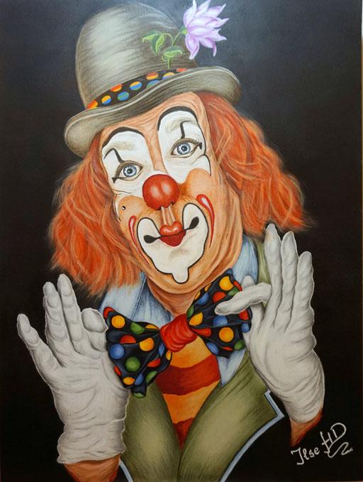 Clowni der immer Fröhliche; 42x 56cm; Polychromos und Acryl auf Acrylkarton