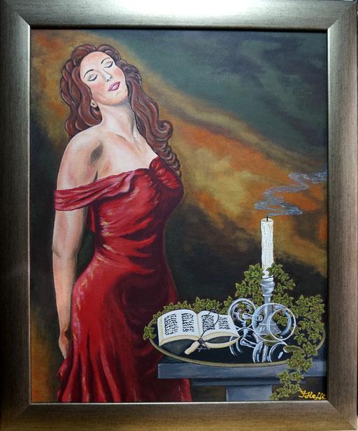 Dame in ROT mit einem Hauch Romantik; 40x 50cm; Acryl auf Leinwand