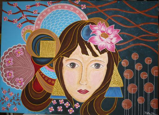 Lotusmädchen; 50x 70cm Acryl auf Leinwand