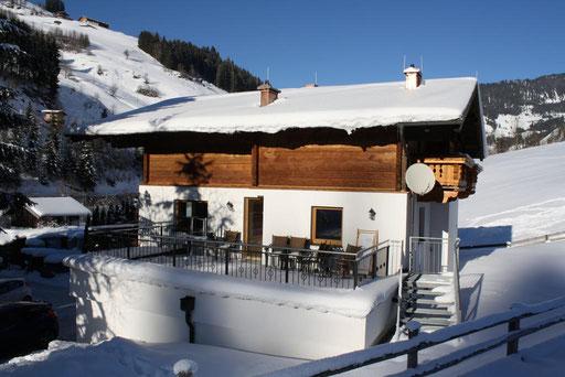 Chalet Rehlein Terrasse Winter