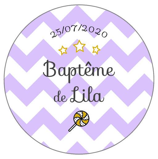 Déco de table baptême -chevrons lilas-