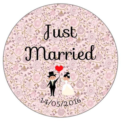 Magnets invités mariage personnalisés Liberty rose