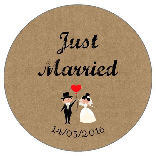 Magnets invités mariage personnalisés Vintage
