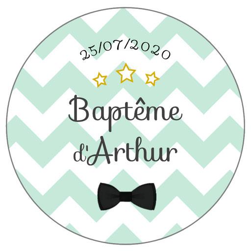 Déco de table baptême -chevrons verts-