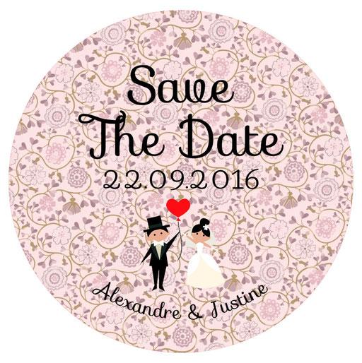 Miroir de poche Save the date mariage