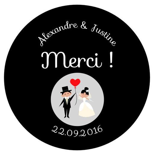 Magnets invités mariage personnalisés noir et blanc