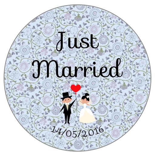 Miroir invités mariage personnalisés Liberty bleu
