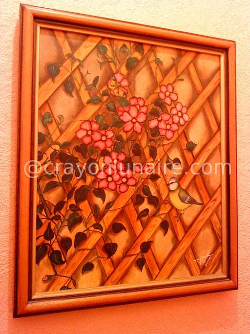 La mésange. Huile sur toile 1990.                                                                                                                                                                    ( Collection personnelle )
