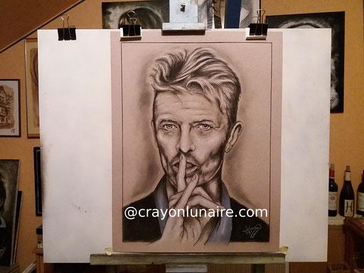 David Bowie. Fusain et pierre blanche. Format 65 x 50