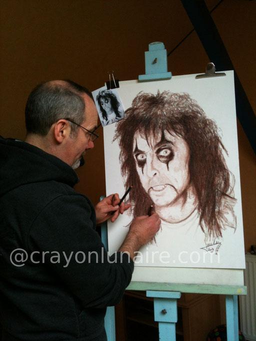 Alice Cooper portrait sépia