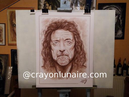 Portrait Robert Plant sanguine Médicis