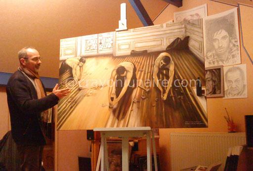 """Copie des """"raboteurs de parquet"""" d'après Gustave Caillebotte. Huile sur toile. Format 150 x 110."""