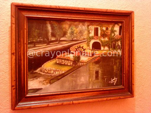 Vue de Brantome ( Dordogne ) Huile sur toile 2002.                                                                                                                                 ( Collection personnelle )