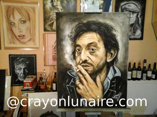 Serge Gainsbourg par crayon lunaire. Huile sur toile. Format 80 x 60                                                 ( Collection personnelle )