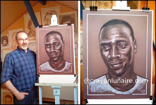 Omar Sy portrait au fusain