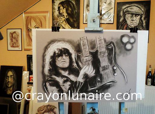 Portrait Jimmy Page fusain et pierre blanche.