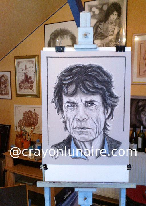 Mick Jagger fusain et pierre blanche