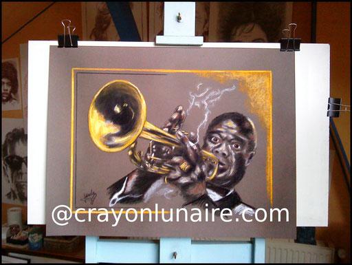 Louis Armstrong  Portrait au fusain & pastel sec