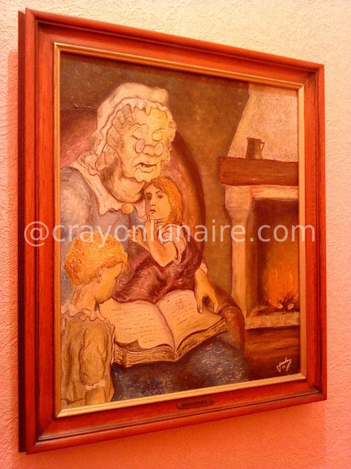 La veillée. Huile sur toile 1983.                                                                                                                                                                  ( Collection personnelle )