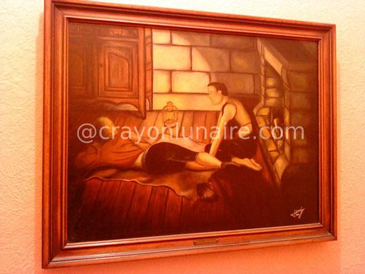 La toupie. Huile sur toile 1990.                                                                                                                                                                  ( Collection personnelle )