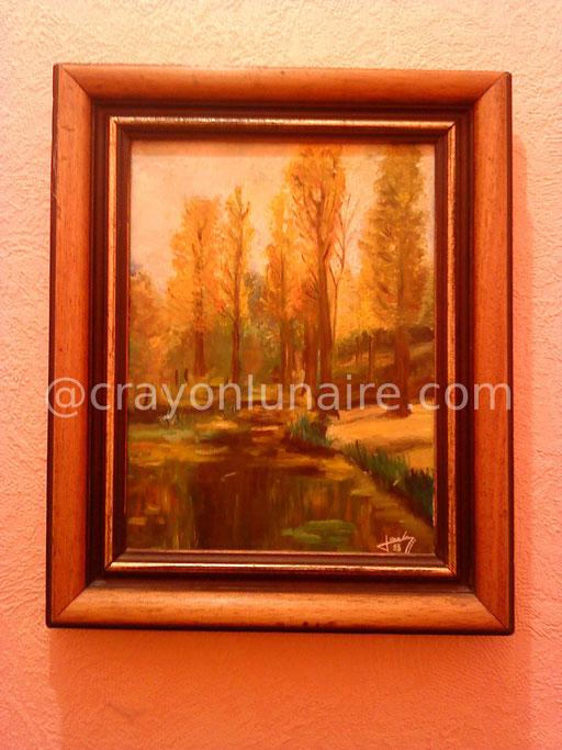 Les peupliers. Huile sur toile 1983.                                                                                                                                                          ( Collection personnelle )