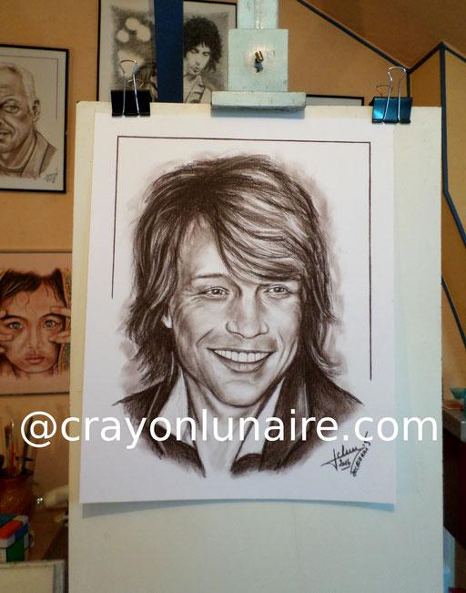 Portrait Jon Bon Jovi sépia à l'estompe