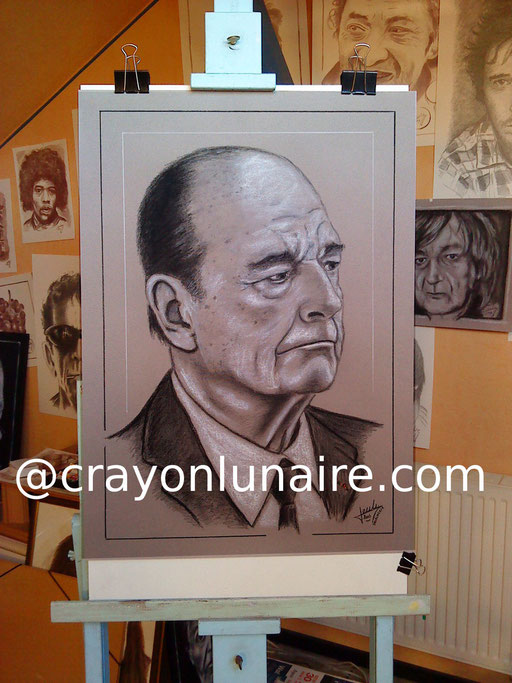 Monsieur le Président Jacques Chirac portrait au fusain & à la pierre blanche