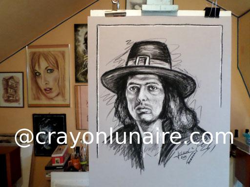 Portrait Ritchie Blackmore fusain et à la pierre blanche.