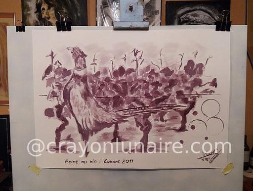 Faisan à la vigne : Peinture au vin