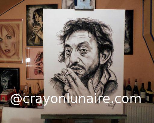 Serge Gainsbourg fusain sur toile de lin