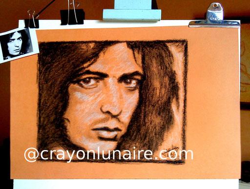 Portrait Ritchie Blackmore fusain et pierre blanche