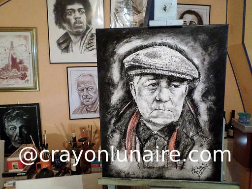 Jean Gabin portrait au fusain et à l'huile sur toile de lin.