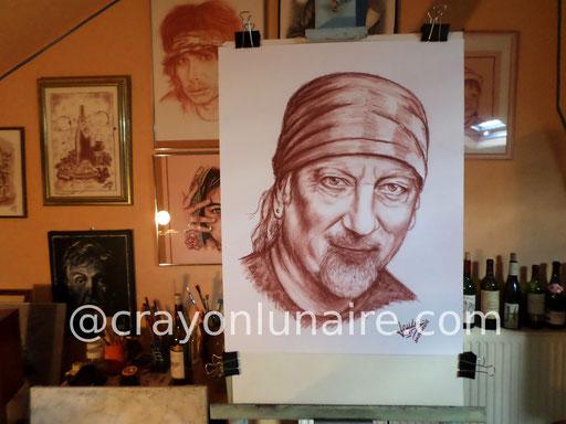 Portrait Roger Glover sanguine Médicis.