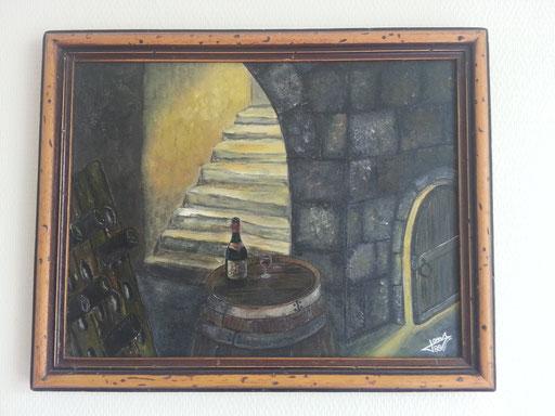 Cave à vin. Huile sur toile 1989.                                                                                                                                                                ( Collection personnelle )