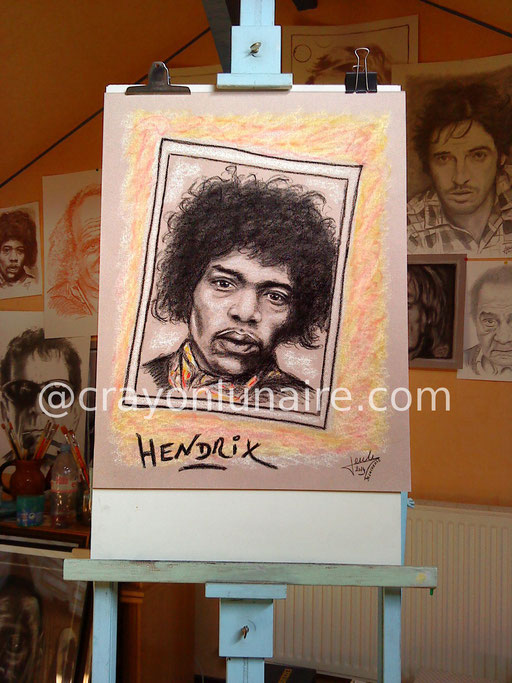 Jimi Hendrix : Fusain, pierre blanche et pastel sec