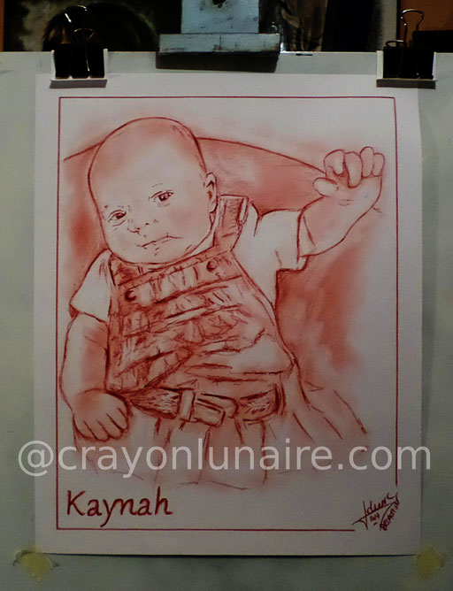Portrait Kaynah à la sanguine XVIIIe