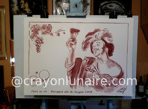 Le joyeux violoniste peinture au vin