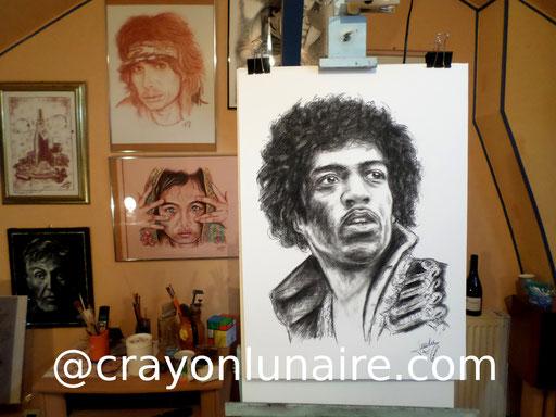 Jimi Hendrix portrait au fusain.