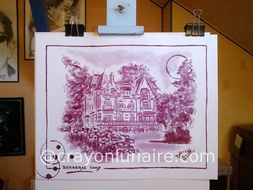"""Vue de la mairie d'Andilly: Bergerac """"Domaine de Couderc"""" 2007."""