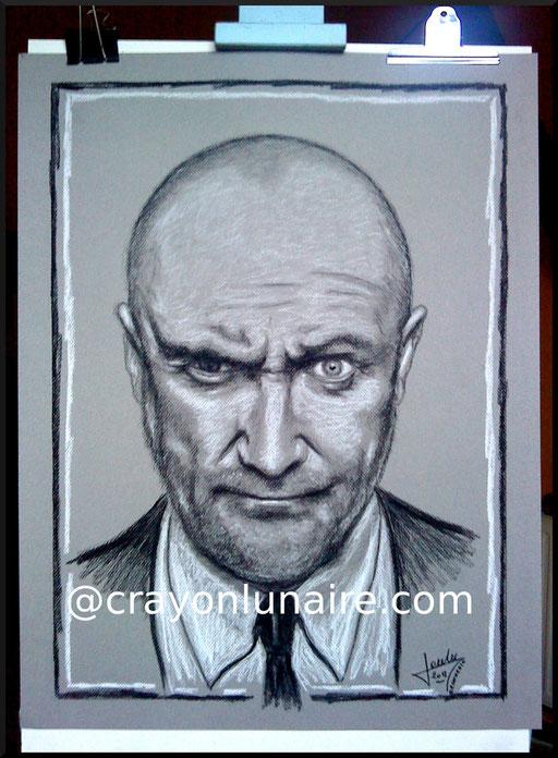 Phil Collins portrait au fusain