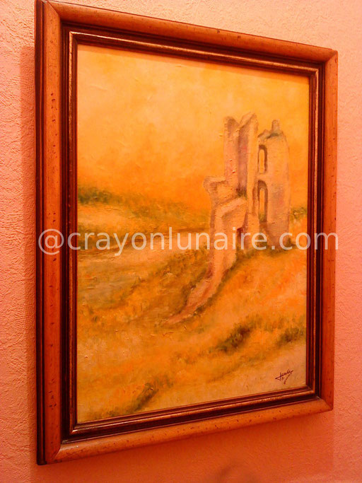 Les ruines du chateau de Boves. Huile sur toile 1991.                                                                                                                              ( Collection personnelle )