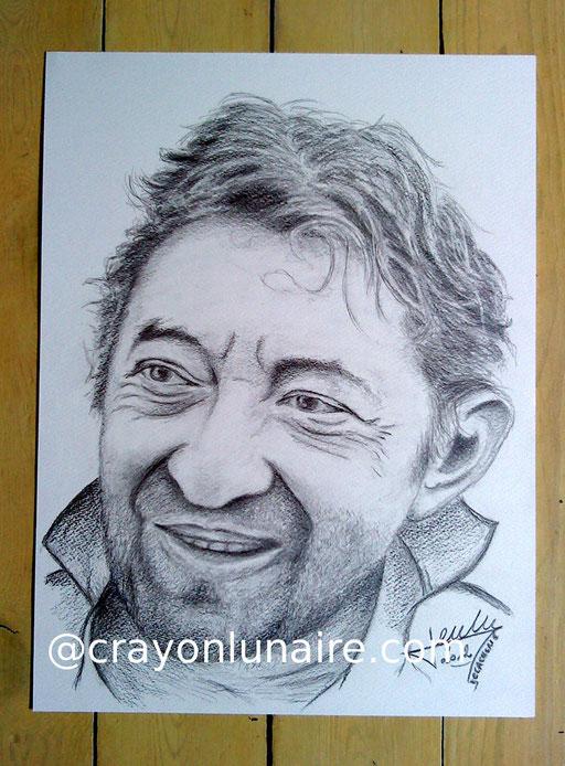 Serge Gainsbourg portrait au fusain