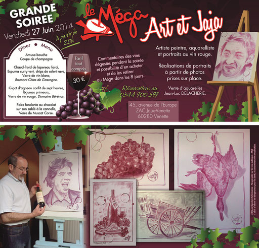 """Soirée """"art et jaja"""" au restaurant le Méga. Peinture au vin"""