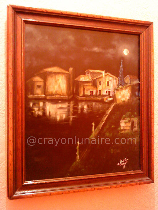 Lune et eau. Huile sur toile 1997                                                                                                                                                                 ( Collection personnelle )
