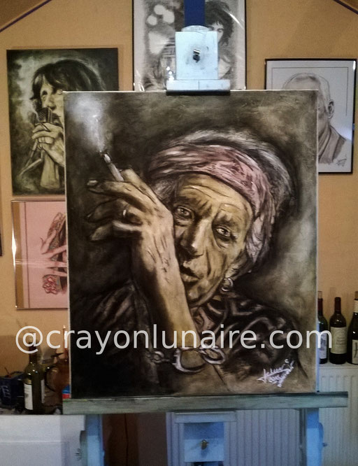 Keith Richards : Fusain + huile sur toile. Format 70 x 50                                                                  ( Collection personnelle )