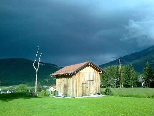 Alpen Gewitter und Regenbogen Scheune + temporale e arcobaleno alpi fienile + alps thunderstorm and rainbow barn