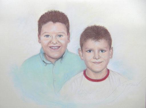 Retrato de Juan Carlos y Joel Cañas - 65 50 cm.
