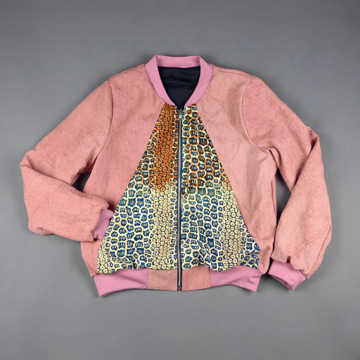 leinen/waxprint reversible bomber jacket